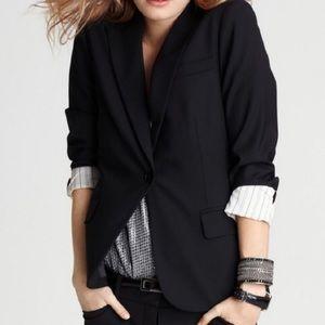 Theory Double Button Striped Cuff Black Blazer